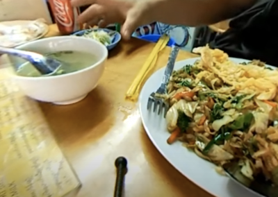 Fried Noodles with Chicken in Yangon